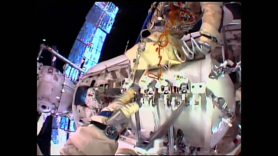 Space: Cosmonauts go on spacewalk