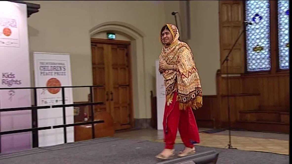 Netherlands: Malala, shot in head by Taliban, wins Children's Peace prize