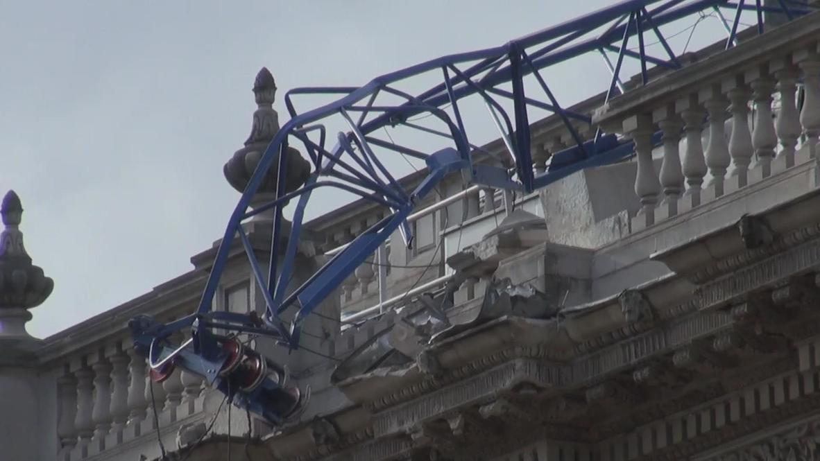 UK: Crane smashes Cabinet Office