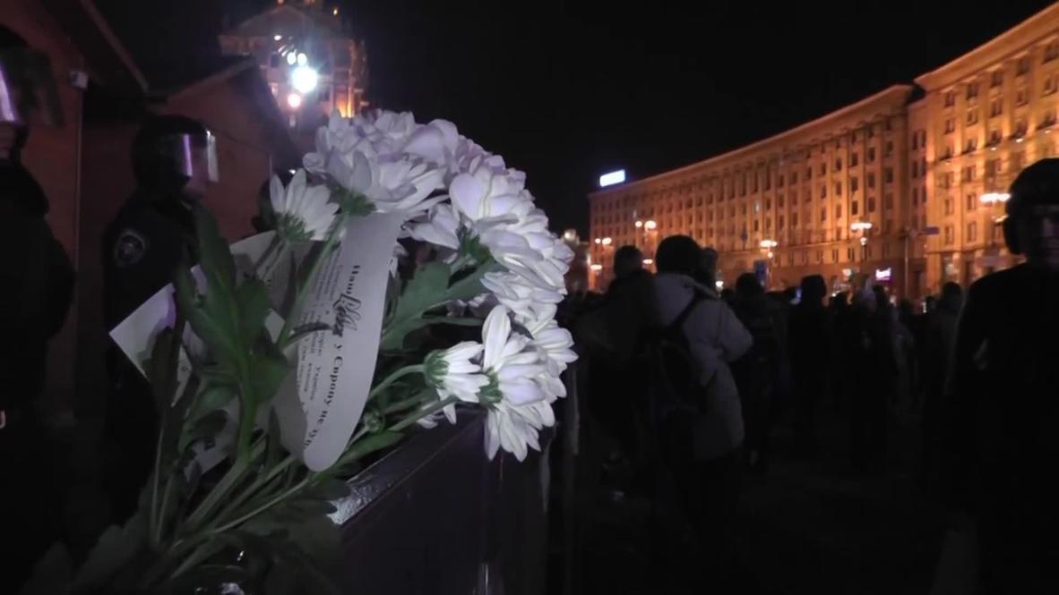 Ukraine: Vigil held for badly injured protester in Maidan