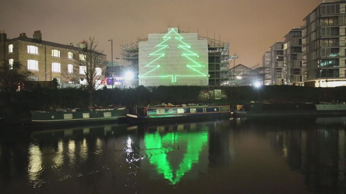 UK: Laser light Christmas tree rave it up in King's Cross
