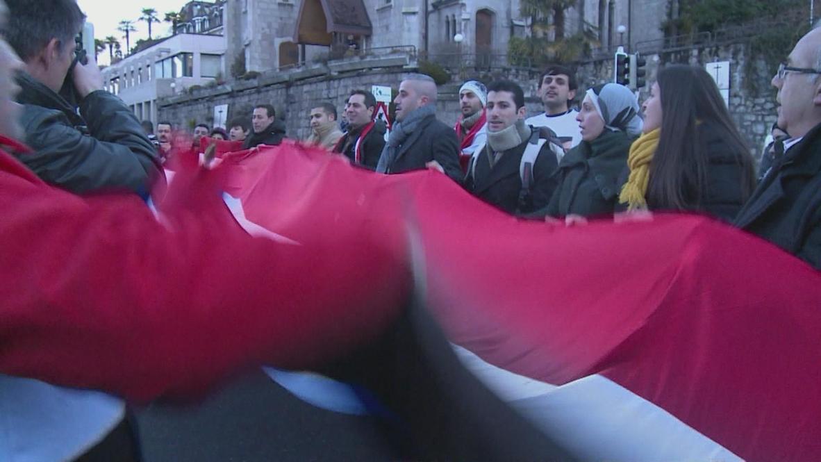 Switzerland: Protesters show support for Assad as Geneva II begins