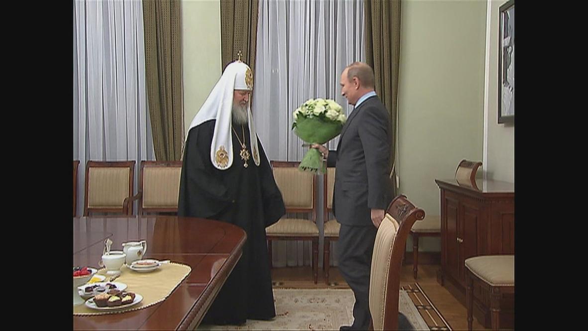 Russia: Putin congratulates Patriarch Kirill on 5th anniversary