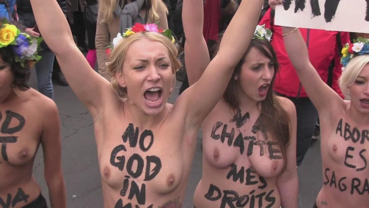France: FEMEN lead pro-choice Paris protest *EXPLICIT*