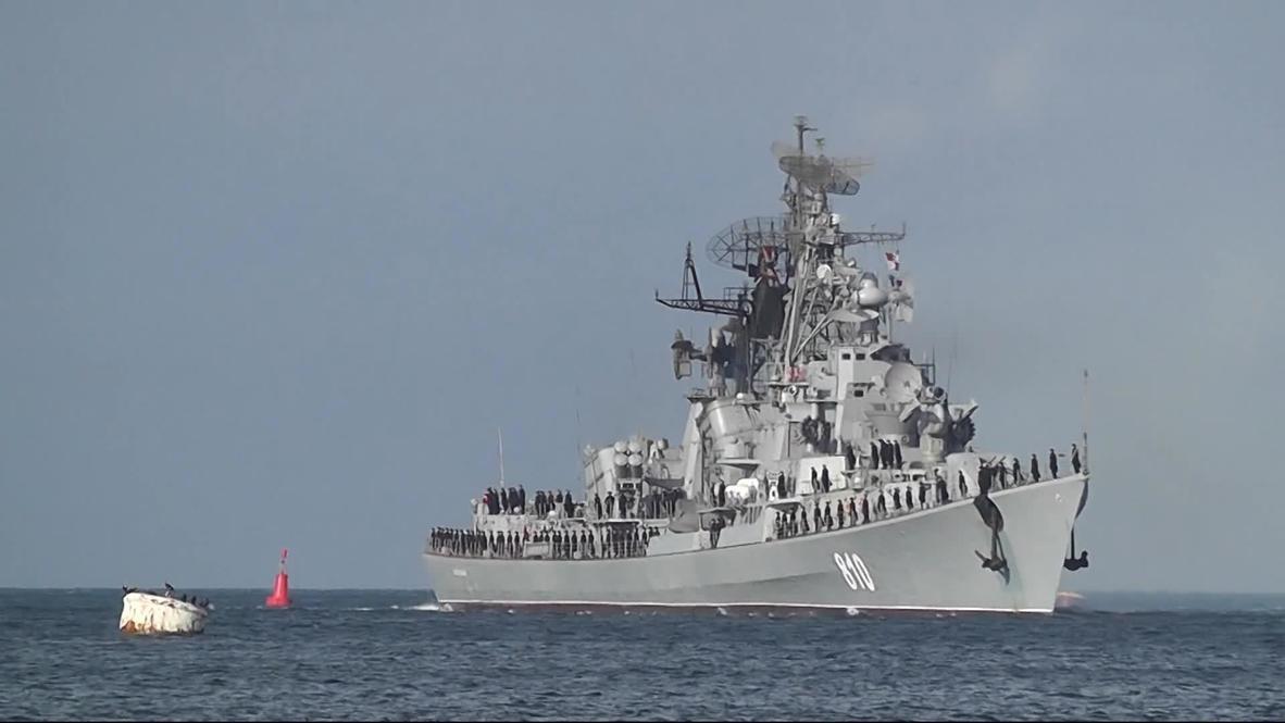 Ukraine: Russian missile destroyer Smetlivy steams into Black Sea port