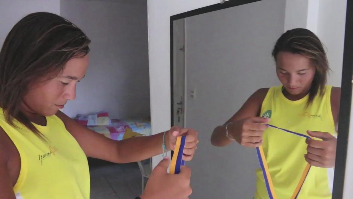 Brazil: Star from Brazil's slums plays beach tennis