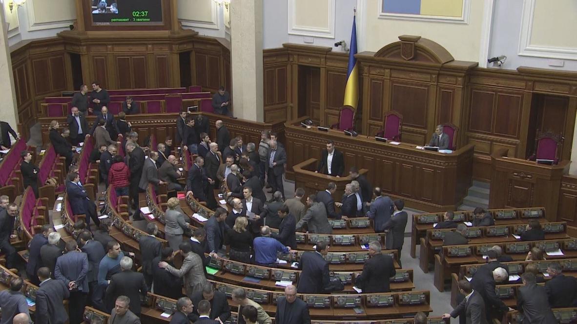 Ukraine: Parliament cheer resignation of speaker 'due to illness'