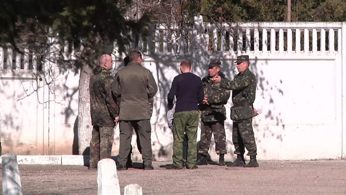 Ukraine: Local self-defence units blockade Crimean military base
