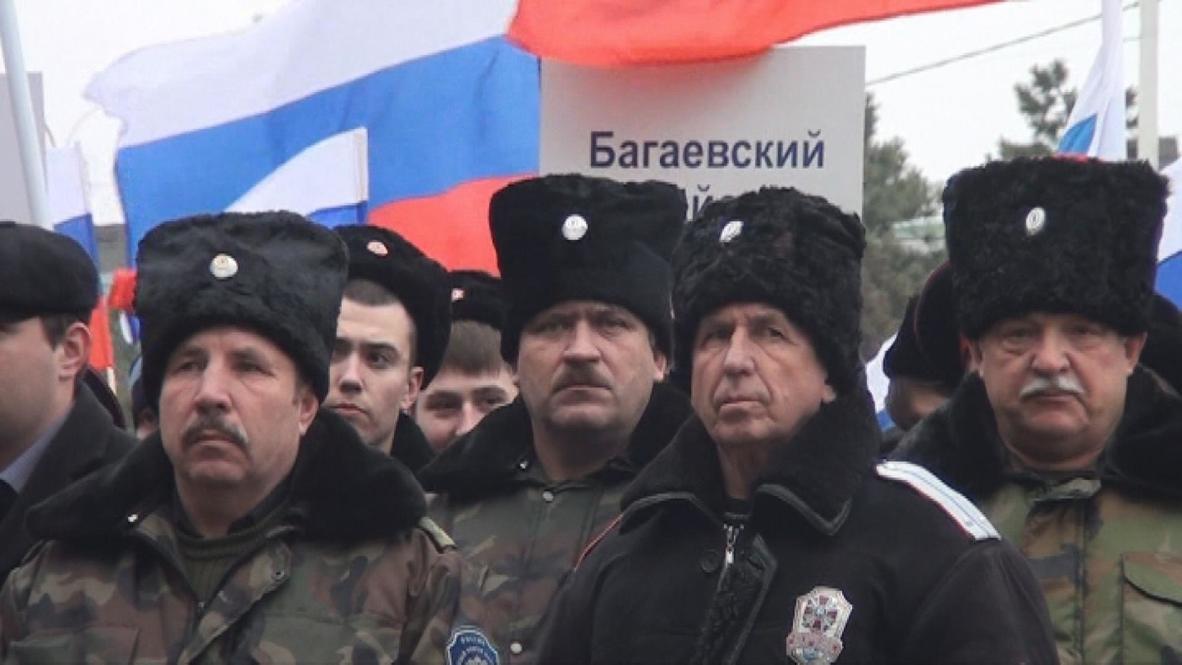 Russia: Cossacks demonstrate support for people of Ukraine