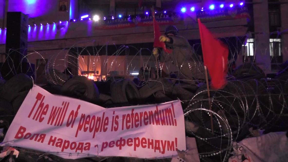 Ukraine: Razor wire awaits state security in Donetsk