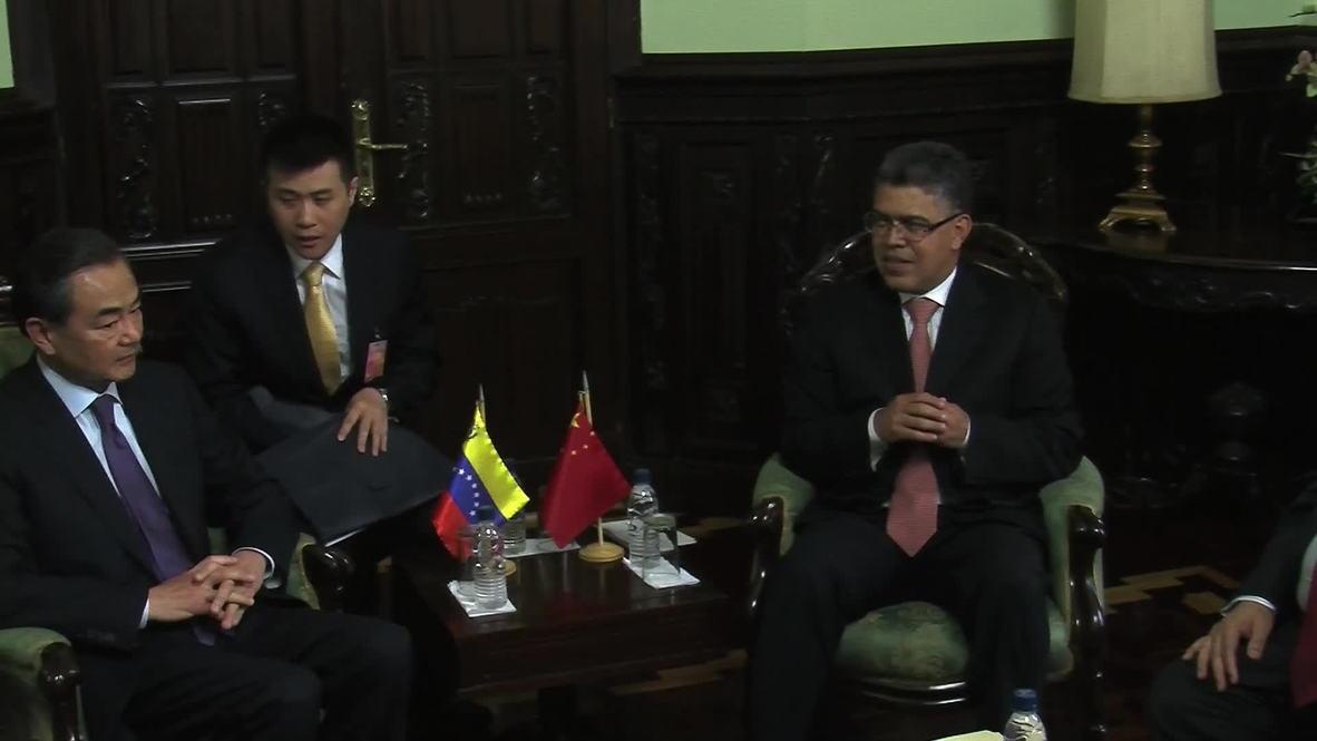Venezuela: Elias Jaua welcomes Wang Yi in Caracas