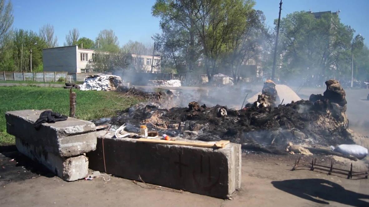 Ukraine: Checkpoint near Slavyansk is set on fire