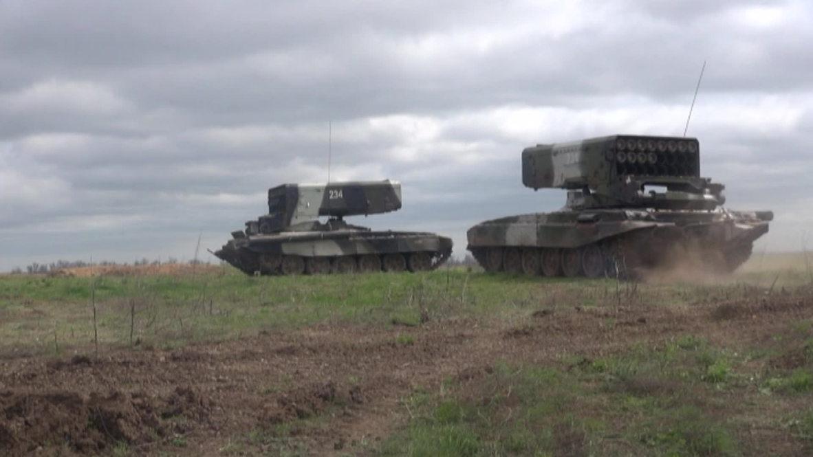 Russia: TOS-1 thermobaric rocket drill near Ukraine border