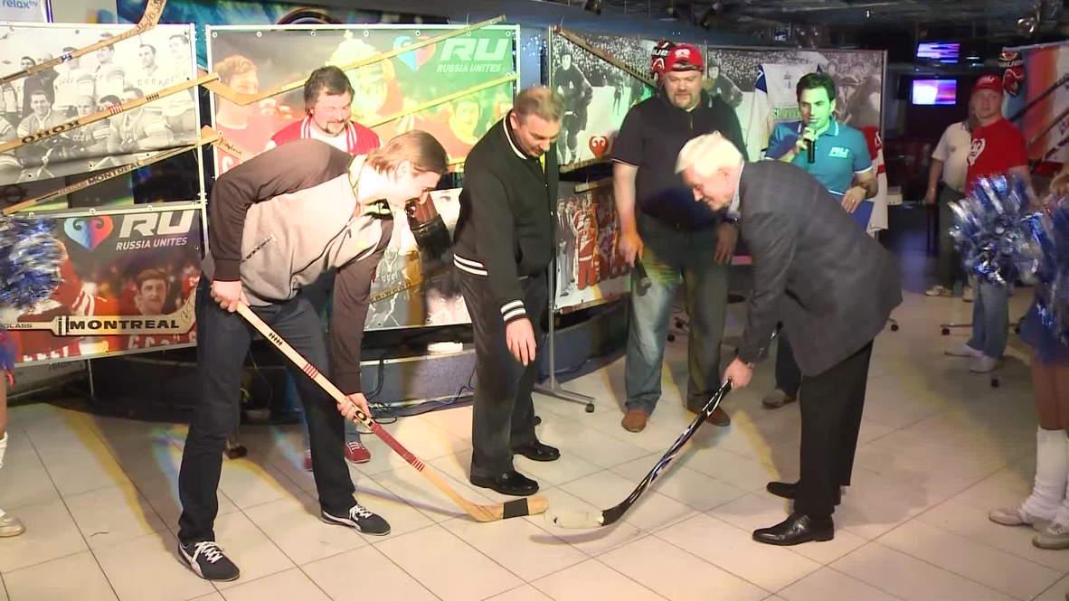 Belarus: Hockey fiends fervant as 'Russia Unites' fan house opens