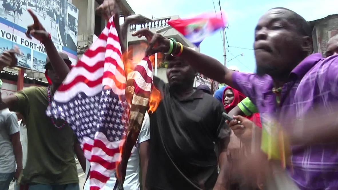 Haiti: Stars and stripes burn in anti-US protest