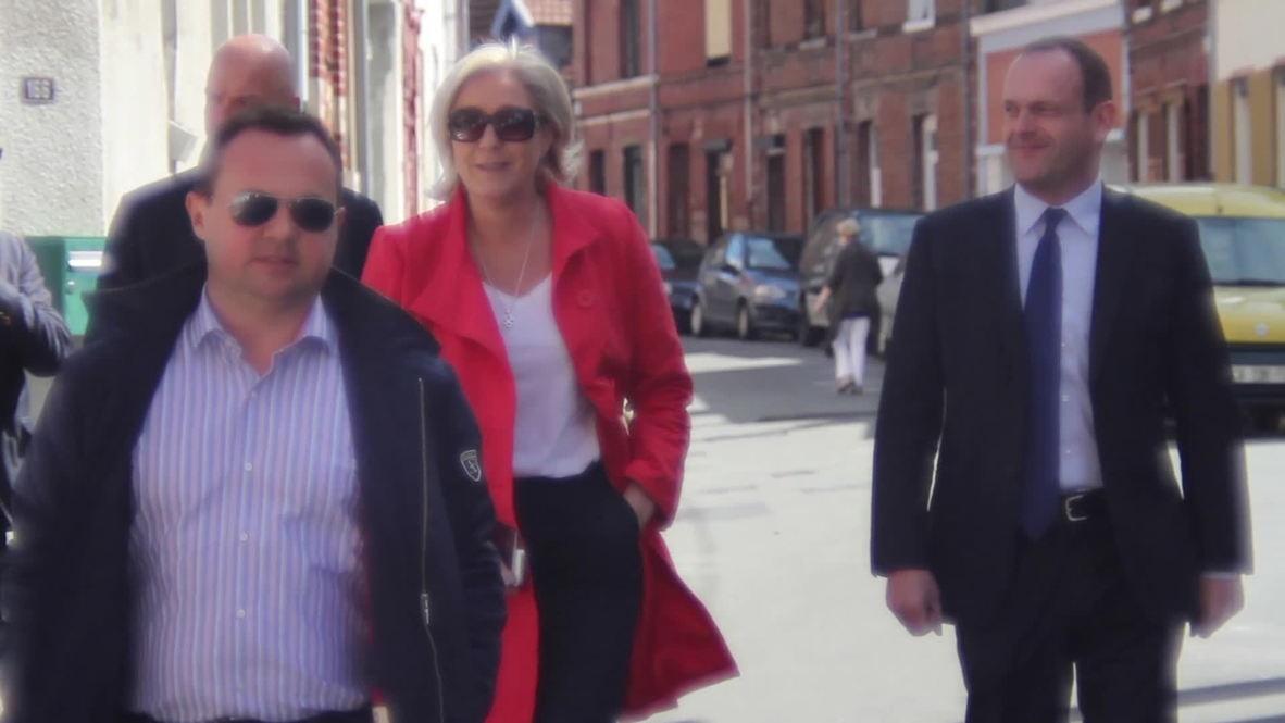 France: Le Pen casts ballot in Henin-Beaumont