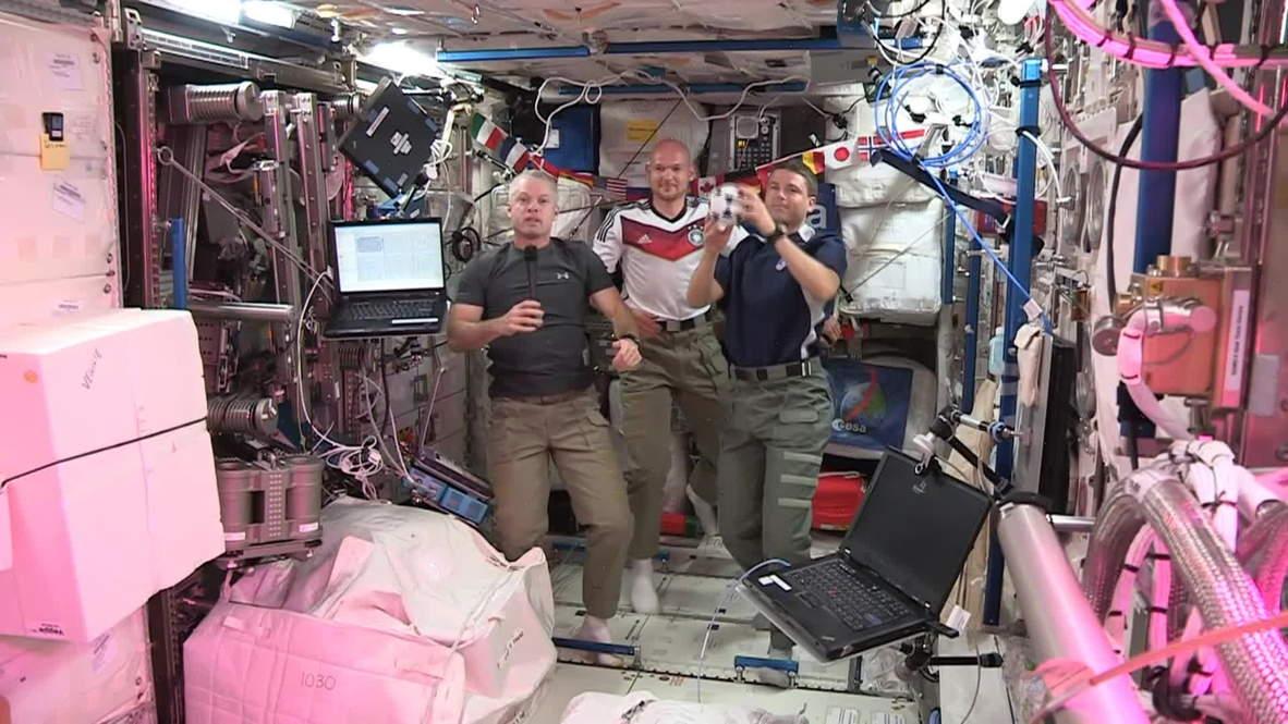 Space: ISS astronauts play zero-gravity football