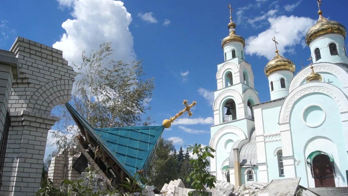 Ukraine: Shelling destroys church in eastern Slavyansk