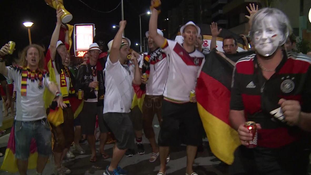 Brazil: Merkel dances night away with German fans