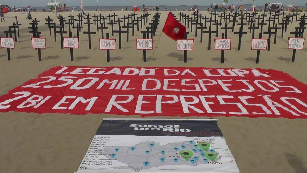 Brazil: Anti-FIFA protesters turn Copacabana Beach into necropolis