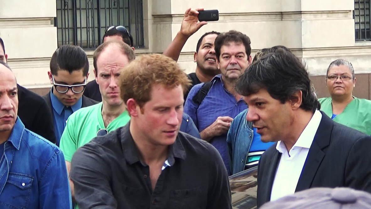 Brazil: Prince Harry visits 'crackland' Sao Paulo slum