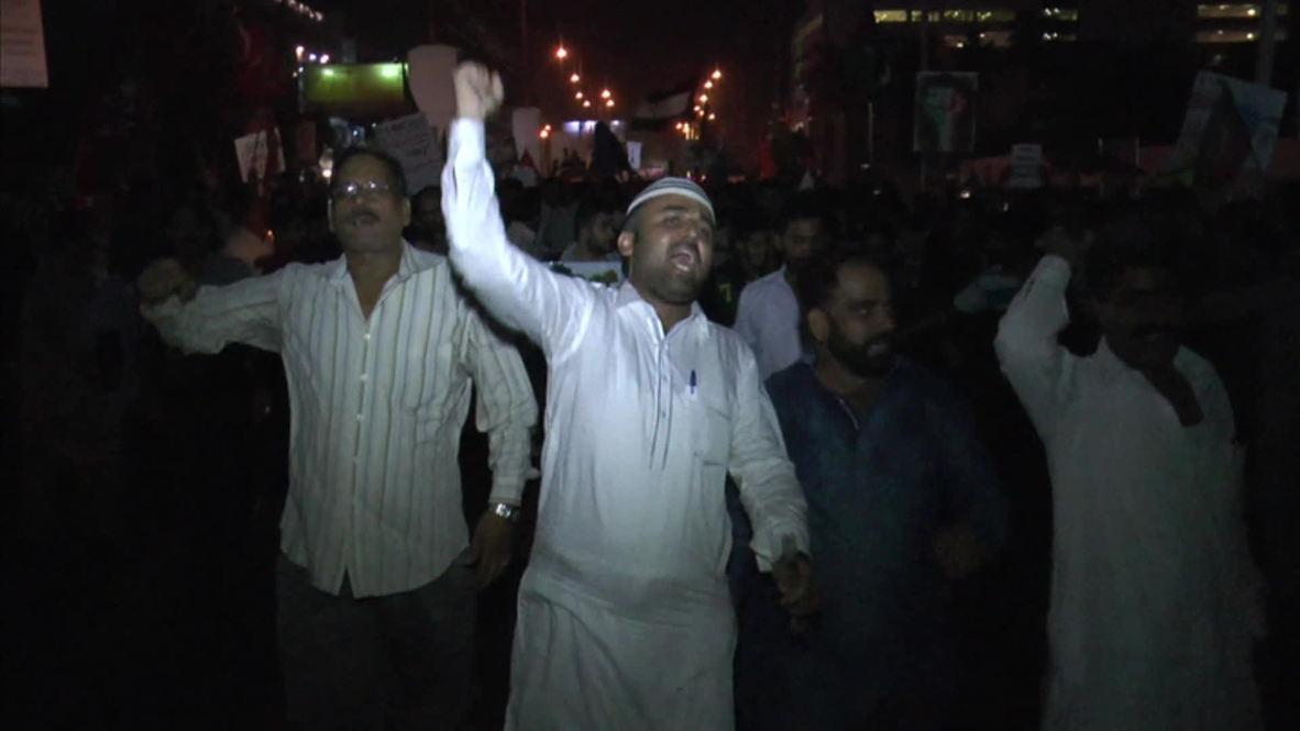 "Pakistan: Protesters say ""Gaza over football"""