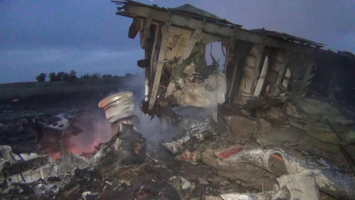 Ukraine: *GRAPHIC* Human remains strewn amongst burning aftermath of MH17 crash