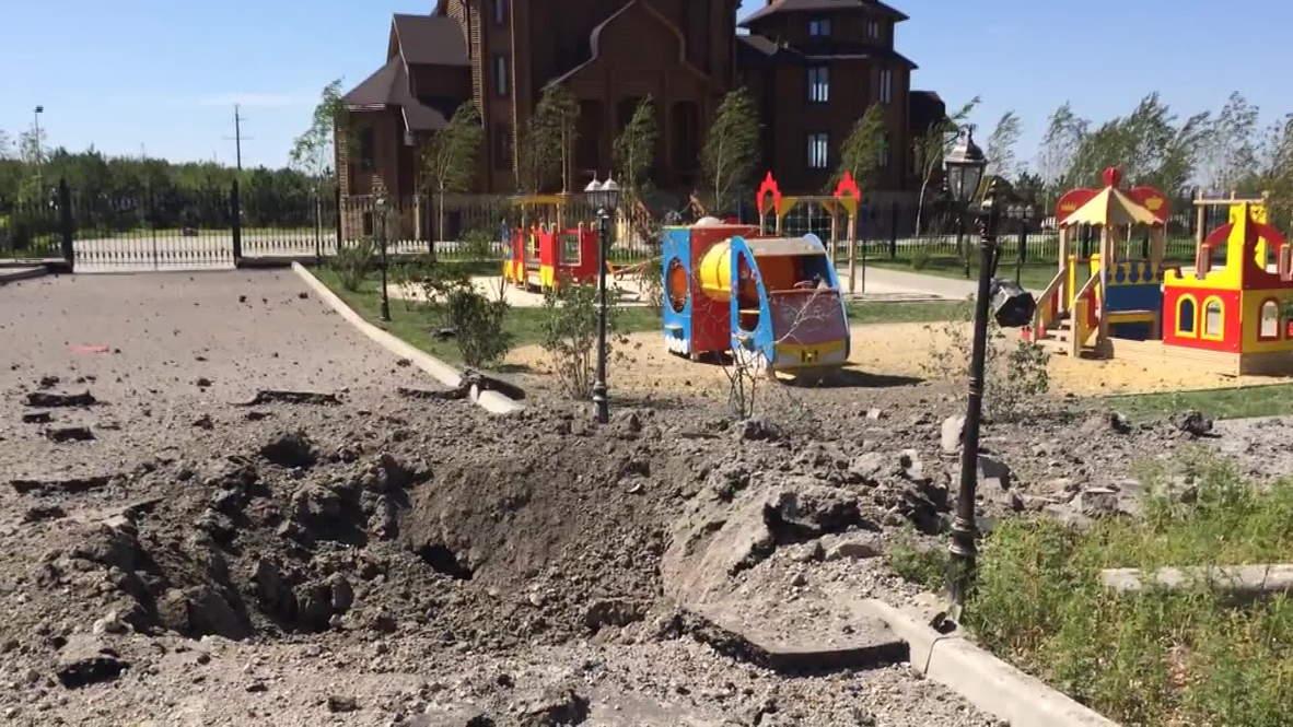 Ukraine: See massive bomb crater by kids' playground
