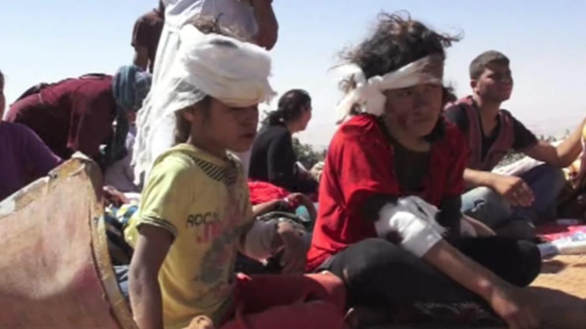 Iraq: Bleeding Yazidi children trapped on Sinjar Mountain *WARNING: GRAPHIC CONTENT*