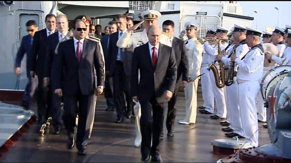 Russia: Putin presents iconic missile cruiser to el-Sisi *POOL*