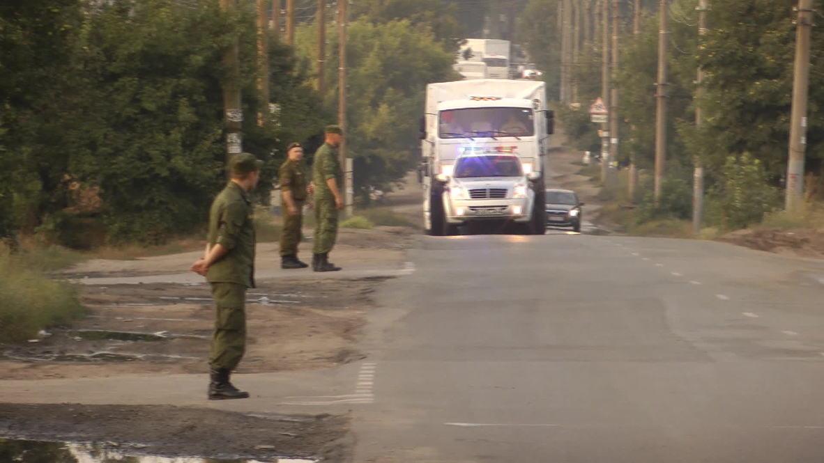 Russia: East Ukraine humanitarian aid convoy arrives at Voronezh