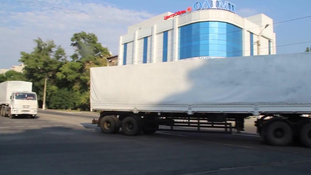Ukraine: Watch FIRST video of Russian aid trucks arriving in Lugansk