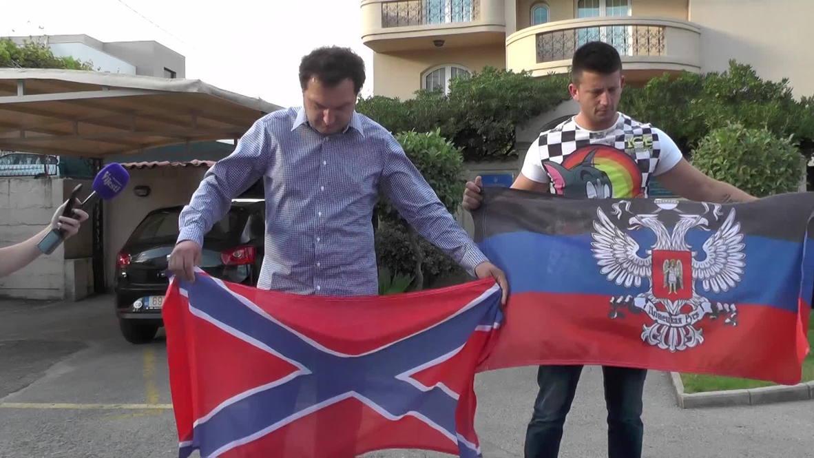 Montenegro: Activists fly DPR, Novorossiya flags outside Ukrainian embassy