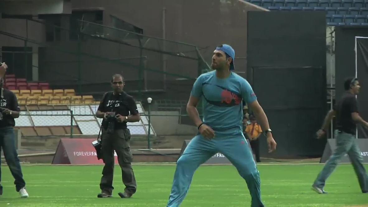 India: See Usain Bolt's breakneck ball skills stump Yuvraj Singh in Bangalore