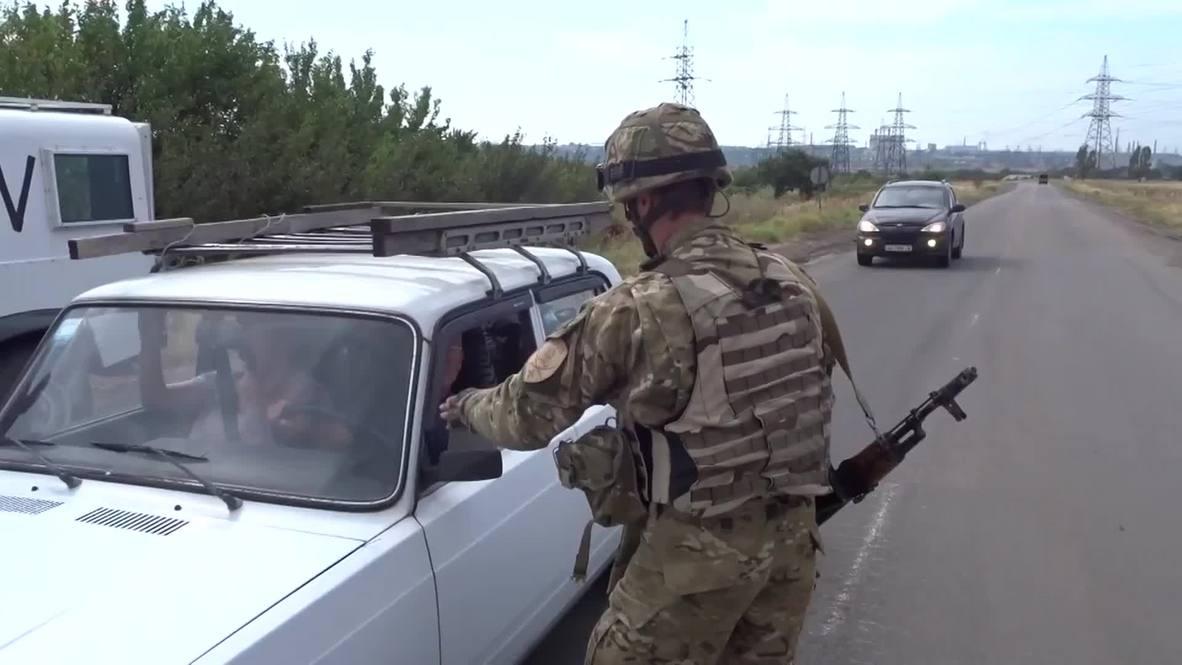 Ukraine: Azov Battalion guards Mariupol checkpoint