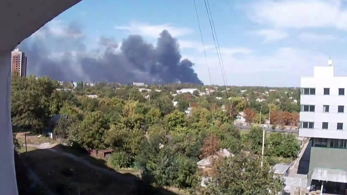 Ukraine: Heavy black smoke billows from Donetsk airport