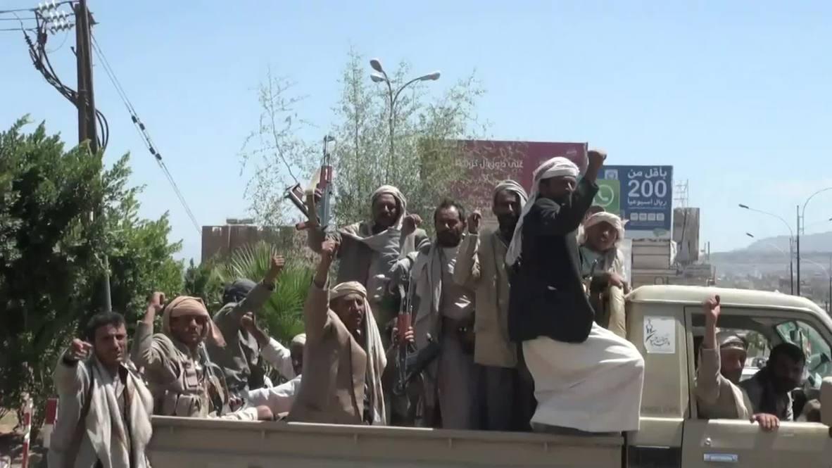 Yemen: Houthi militants patrol captured army base in Sanaa