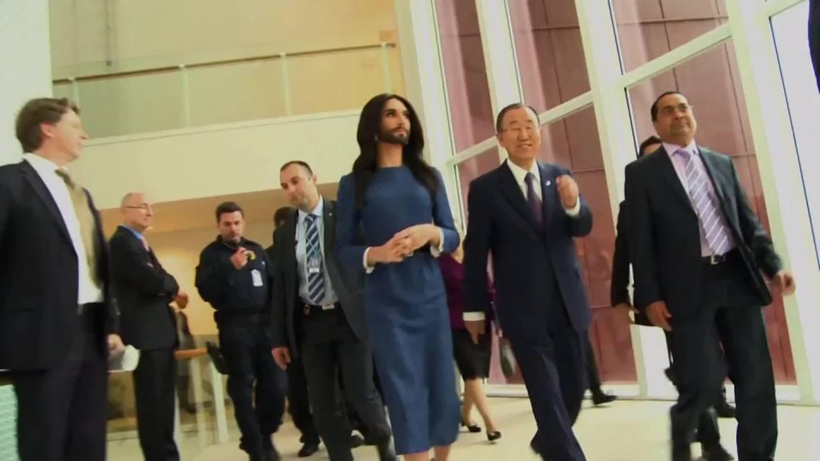 Austria: Conchita Wurst gets political, meets Ban Ki-moon at UN offices