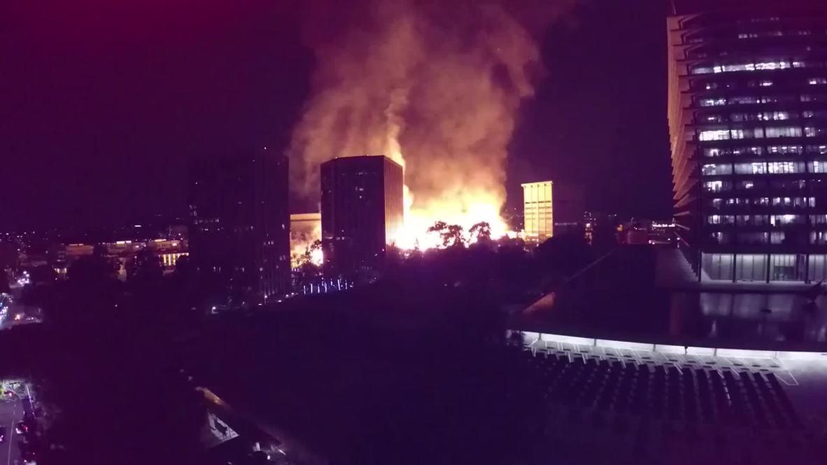 USA: Drone footage captures MASSIVE LA inferno