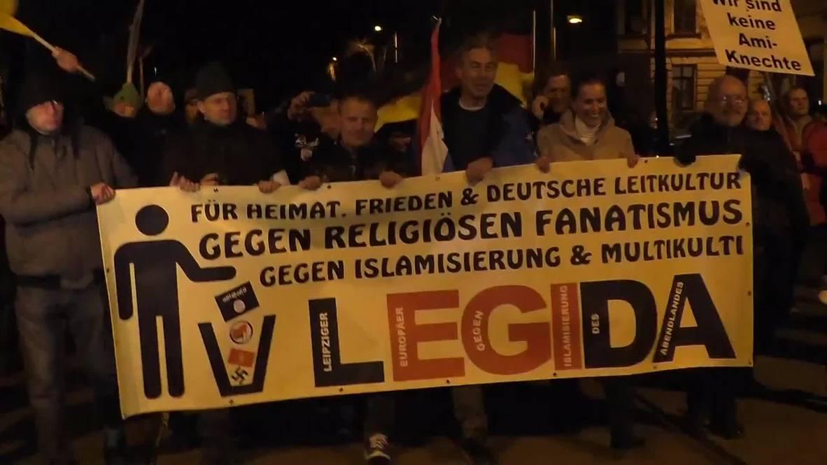 "Germany: Leipzig PEGIDA demo says ""Yankee go home, take Merkel with you!"""
