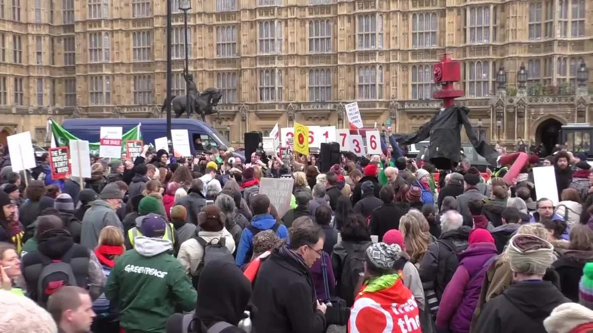 UK: 'Frack off'- Anti-fracking protest held outside Parliament