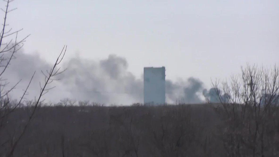 Ukraine: Ukrainian Army positions smoulder after fighting in Uglegorsk