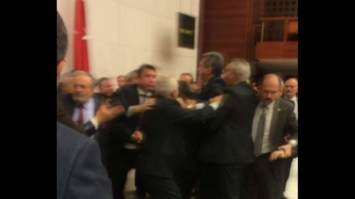 Turkey: Fists fly! See MASS BRAWL in Turkish Parliament