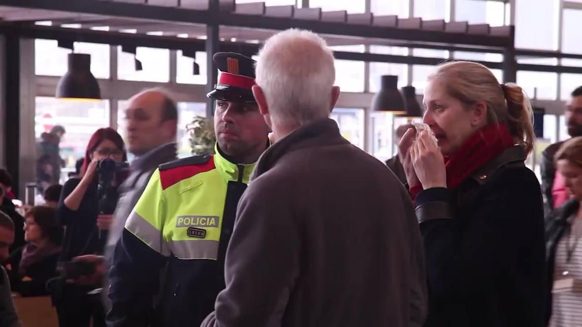 Spain: Family  friends of Germanwings 4U9525 passengers arrive at Barcelona airport
