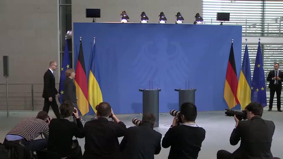 Germany: Yatsenyuk says Maidan evidence destroyed by previous govt
