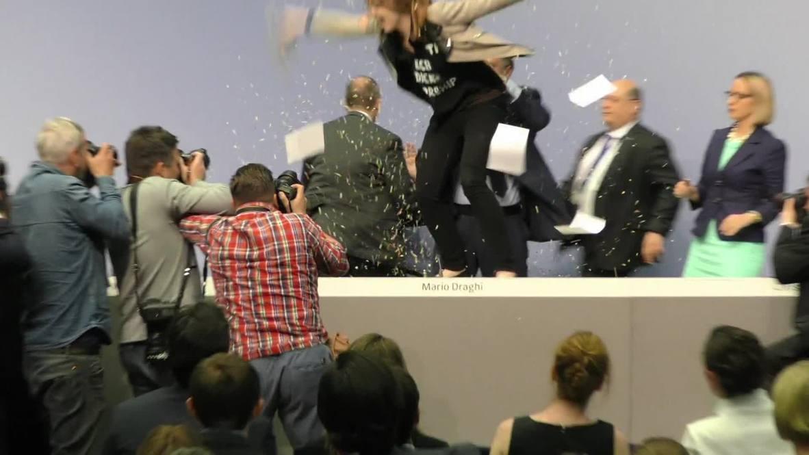 Germany: Watch FEMEN crash ECB President Mario Draghi!