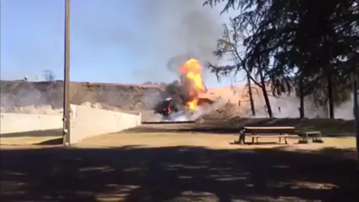 USA: Inferno ENGULFS Fresno gun range after gas explosion