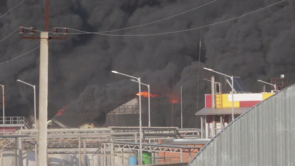 Ukraine: Oil depot blaze still raging despite efforts of 180 firefighters