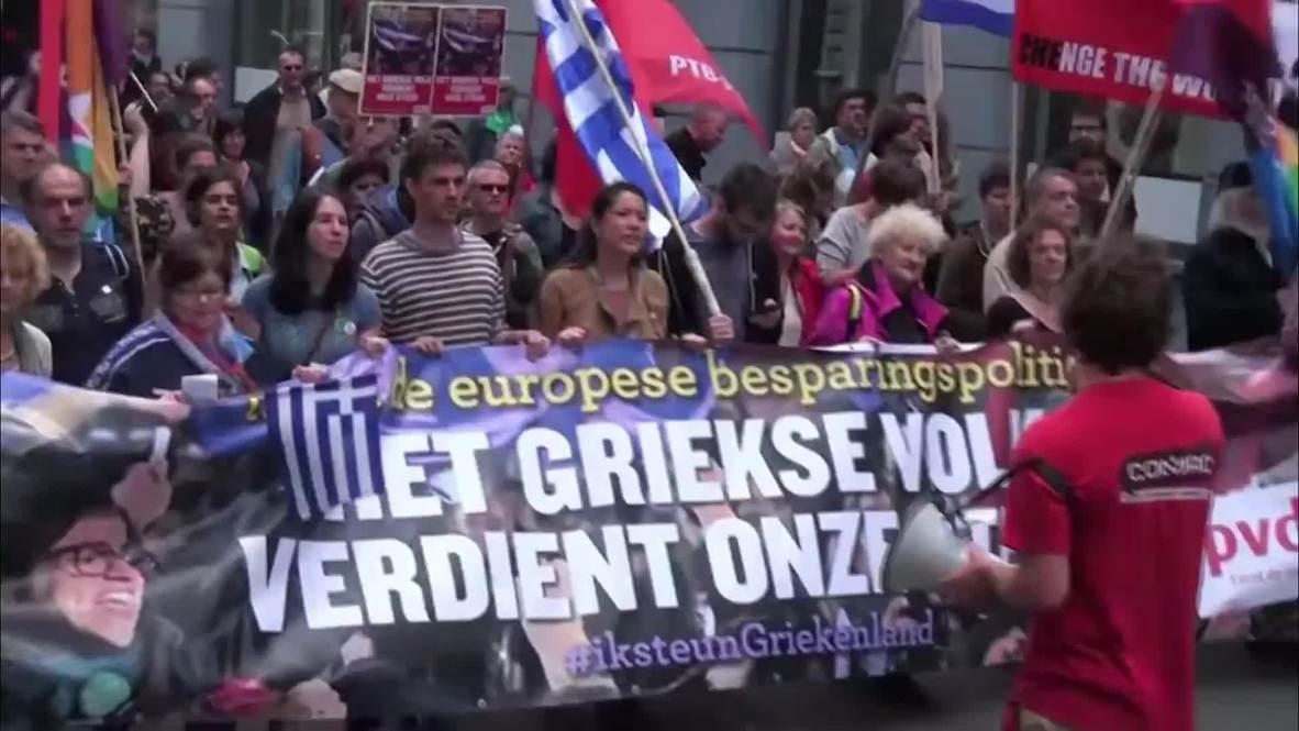 Belgium: Thousands in solidarity with Greece as emergency EU meeting looms
