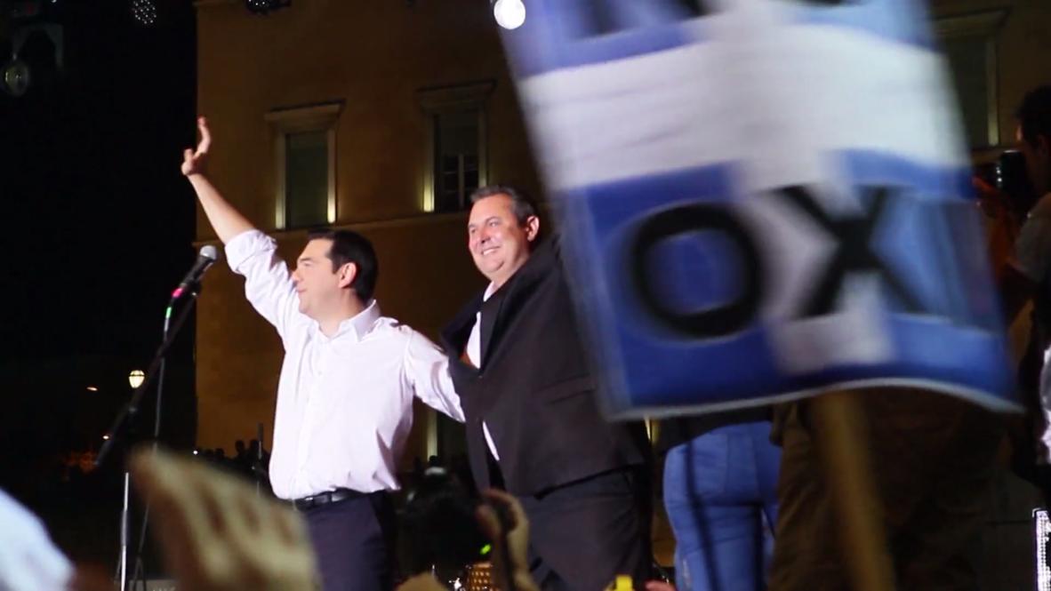 Greece: Tsipras and Varoufakis drop by midnight 'OXI' rally